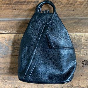 Pebbled black leather backpack/handbag